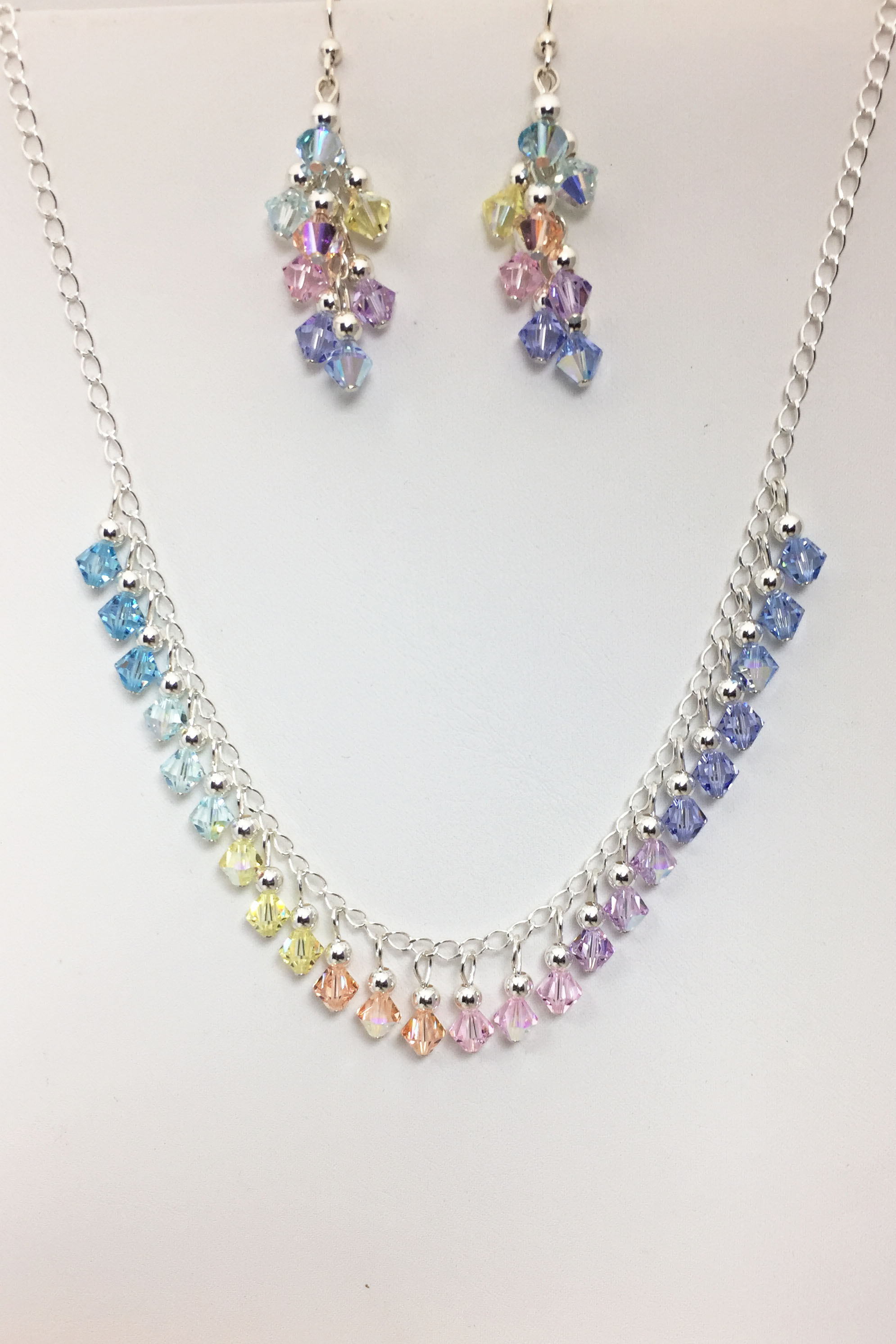 Beaddazzling- Pastel Swarovski Crystal Necklace and Earrings