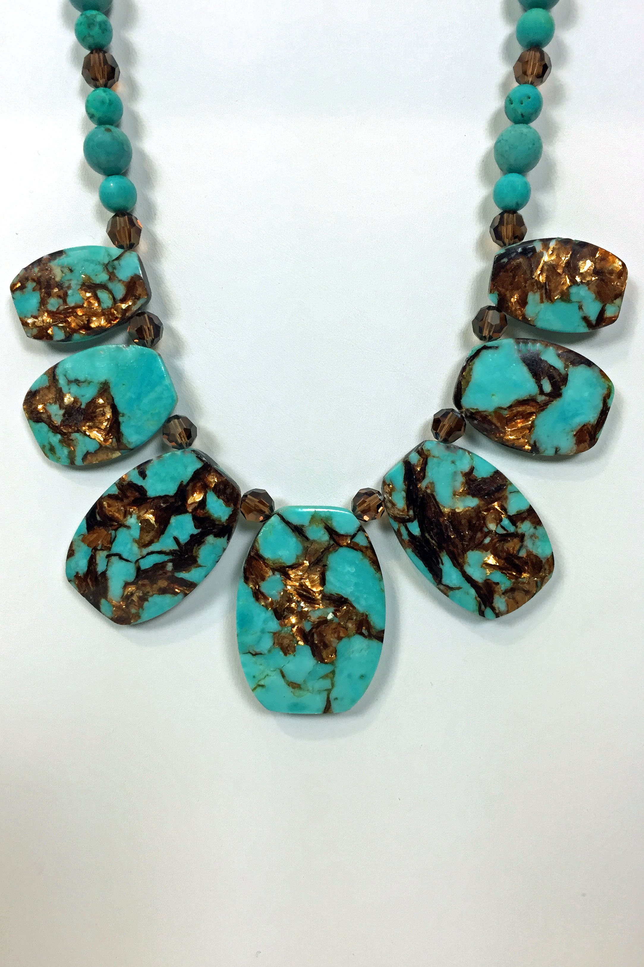 Beaddazzling- Turquoise and Bronzite Necklace
